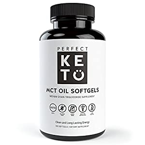 Perfect Keto MCT Oil Capsules- Coconut Oil Softgel Pills Best as Ketogenic Ketosis Diet Supplement. Caprylic Acid (C8) & Capric Acid (C10) Medium-Chain Triglycerides. Octane for Brain for Women or Men
