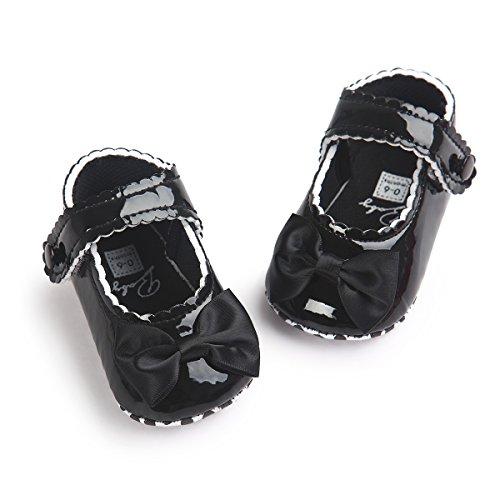 Auxma Zapatos de bebé, Niña Bowknot Zapatos de cuero suave Negro