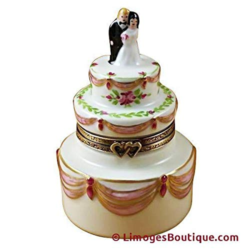 French Limoges Boxes Boutique BRIDE & GROOM WEDDING CAKE - LIMOGES PORCELAIN FIGURINE BOXES AUTHENTIC IMPORTS