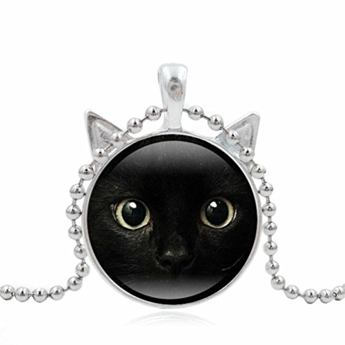 Cute Black Cat Pendant Art Picture Statement Chain Necklace Silver by TOPUNDER