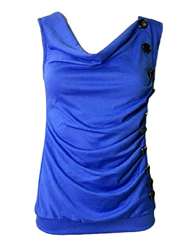 MLG Women's Draped Asymmetric Sleeveless Trim-Fit Buttoned Frill Fashional Camisole Tank Top Blue L