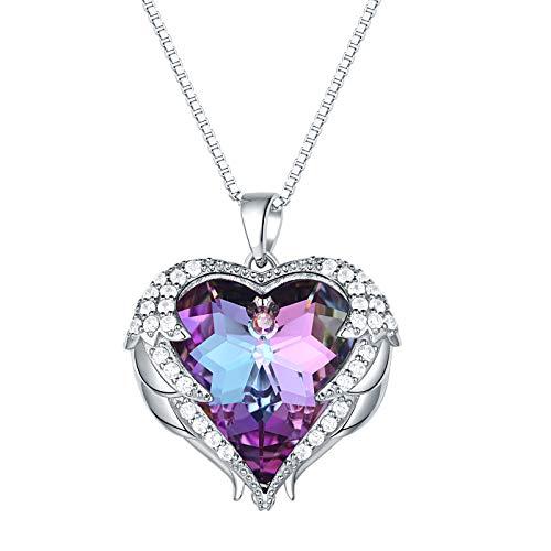 Wuziwen Angel Wing Purple Love Heart Necklace for Women 925 Sterling Silver Crystals Pendant Jewelry