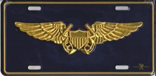 Metal Car License Plate - US Navy Military Naval Flight Officer Wings Crest Logo ()