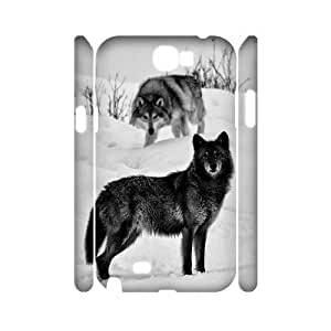 Black Wolves Custom 3D Case for Samsung Galaxy Note 2 N7100, 3D Personalized Black Wolves Case