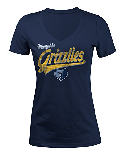 5th & Ocean NBA Memphis Grizzlies Women's 100% Cotton Baby Jersey Short Sleeve V-Neck Tee, Large, Navy