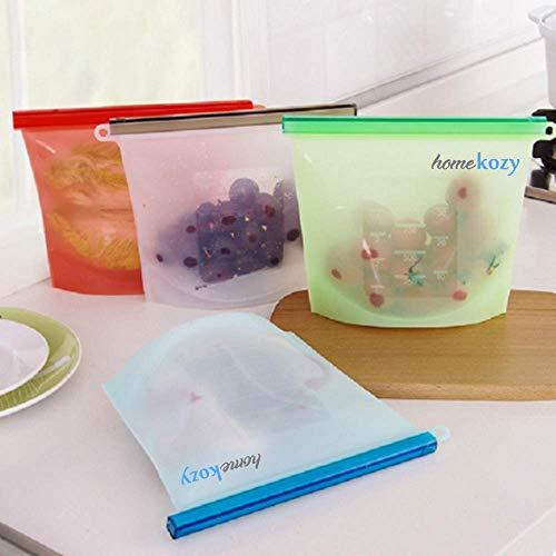 Reusable Food Storage Bags - By homekozy - 4 Pack - 100% Leak Proof Rezip Airtight Seal - Keeps Food Fresh - BPA Free - Eco friendly