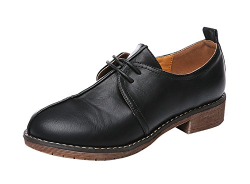 Price comparison product image Freerun Women's Round Toe 2-Eyelets Lace-up Low Heel Oxfords Shoes (8 B(M)US, black)