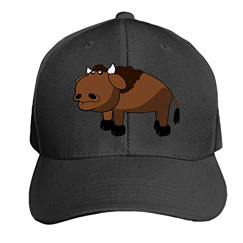 Peaked hat Bison Buffalo Cow Bull Adjustable Sandwich Baseball Cap Cotton Snapback