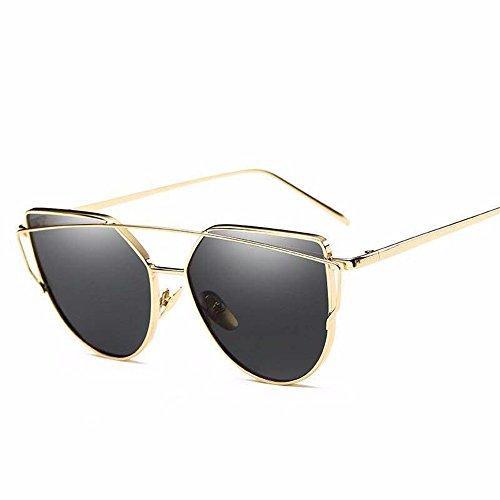 Gafas de Gafas de Hoja de dorado de Plata de Colores Liuxc Eye Sol marco de sol Sol Sol de Metal ceniza Chip Cat con Azul Gafas Gafas de de Marco YqwStz