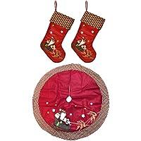 Keskov 2 Christmas Tree Skirt Bundle Set (Large Red)