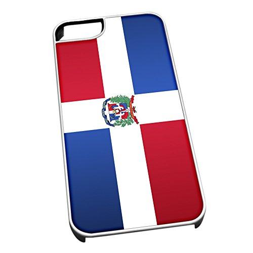 Bianco Cover per iPhone 5/5S 0374Bandiera della Repubblica Dominicana