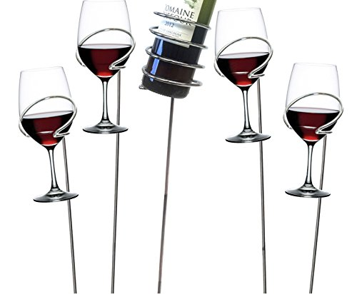 Mind Reader Picnic Wine Bottle and Glass Holder Sticks, 5 pc Set, Silver Piece (For In Glasses Wine Bulk Sale)