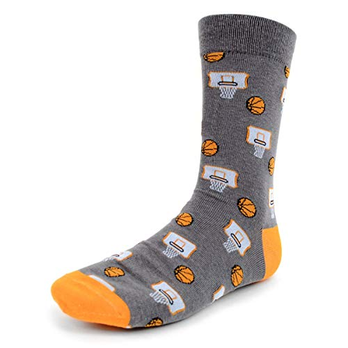 Urban-Peacock Men's Novelty Fun Crew Socks Sports Food Themes (Basketball - Grey with Orange, 12 Pair) ()