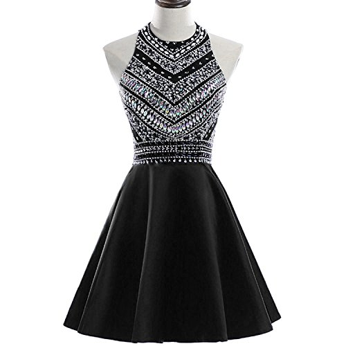 a92e23d7461 HEIMO Women s Sparkly Beaded Homecoming Dresses Sequined Prom Gowns Short  H212 16 Black
