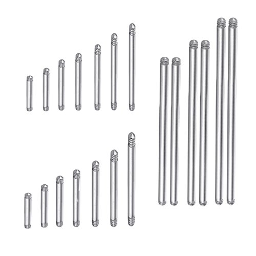 COTTVOTT 20pcs a Set Surgical Steel Threaded Barbell Bar Replacement for Tongue Earring Piercing Body Jewelry (Mix 20pcs)