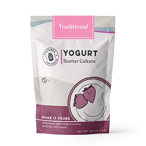 Traditional Flavor Yogurt Starter | Cultures For Health | Non GMO, Gluten Free | Makes Tradtional Flavor Yogurt | 4 Packets In A Box