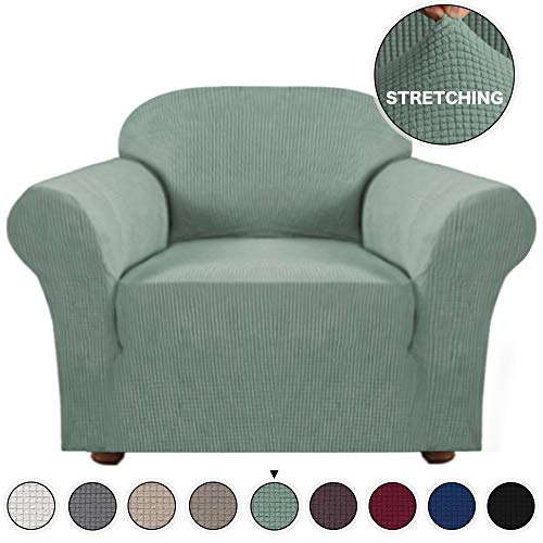 Turquoize High Stretch Rich Jacquard 1-Piece Sofa Cover/Sofa Chair Covers/Slipcover High Spandex Lycra Slipcover Machine Washable/Skid Resistance Chair Covers for Living Room(Dark Cyan, Chair) (Slipcovers For Living Room Chairs)
