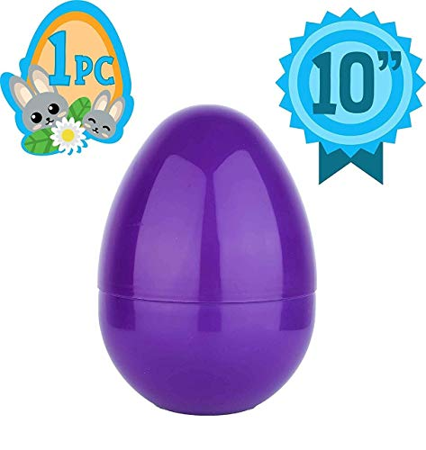 Totem World Jumbo 10-Inch Solid Purple Easter Egg - The Perfect Size For Holding Toys, Candy Bars, And Stuffed Animals - Easy To Open, Tough To Break - Great As Party Favors And Easter Basket Stuffers