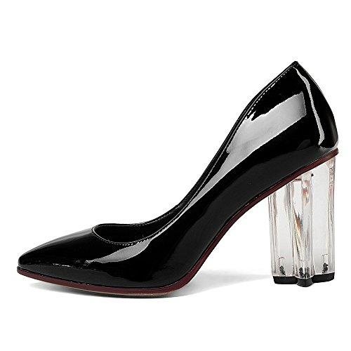 Nueve Siete De Cuero De Patente Para Mujer Del Dedo Del Pie Talón Grueso Del Partido Atractivo Hecho A Mano Vestido De Bombas Zapatos Negro
