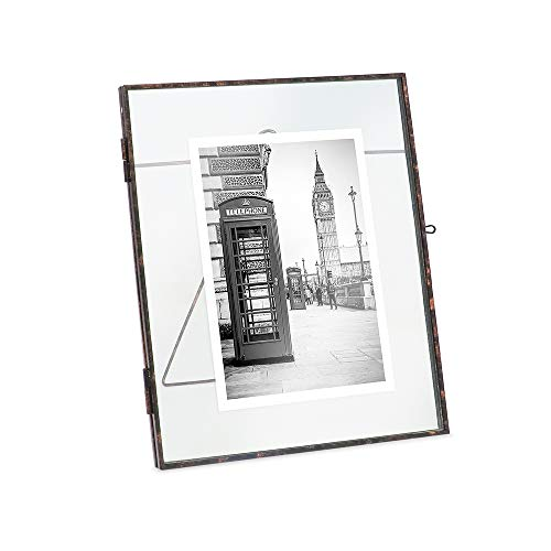 Isaac Jacobs 8x10, Antique Bronze, Vintage Style Brass and Glass, Metal Floating Desk Photo Frame (Vertical), with Locket Closure for Pictures, Art, More