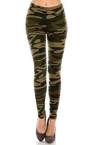 Women's Printed Fashion Leggings Ultra Buttery Soft Basic Solid and Patterned – (Camo Green, Regular)