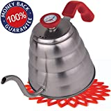 Premium Pour Over Coffee Kettle with THERMOMETER for Precise Temperature 40oz - Gooseneck Tea Kettle - 5 Cup Stainless Steel Teapot for Stovetop - FREE Silicone Tea Kettles Coaster - Red