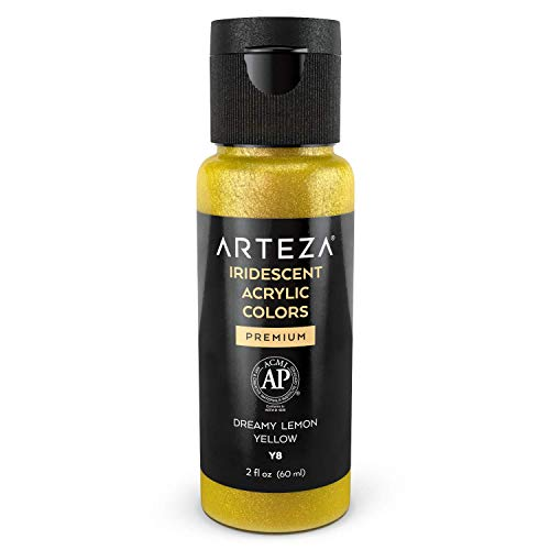Arteza Iridescent Acrylic Paint Y8 Dreamy Lemon Yellow, 60 ml Bottle, Chameleon Colors, High Viscosity Shimmer Paint, Water-Based, Blendable, for Canvas, Wood, Rocks, Fabrics