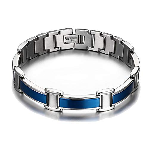 chaninely Blue Titanium Magnetic Therapy Bracelet Pain Relief for Men Arthritis Carpal Tunnel Tendonitis Tennis Elbow