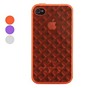 DUR Grid Style Translucent Protective TPU Case for iPhone 4 and 4S (Assorted Colors) , Red
