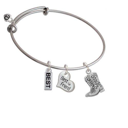 Cowboy Boots - Best Friend Heart Best Expandable Bangle Bracelet by Delight Jewelry (Image #3)