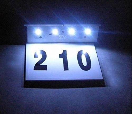 LifeUp® LED Solar Hausnummern-Leuchte mit Lichtsensor Beleuchtete Hausnummer 4 LEDs Solar Außenwandleuchte Hausnummernleuchte mit Dämmerungsschalter und amorphem Silizium- Solar-Panel