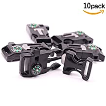 10pcs Emergency Survival Paracord Bracelet Buckles with Whistle, Compass, and Fire Starter Scraper