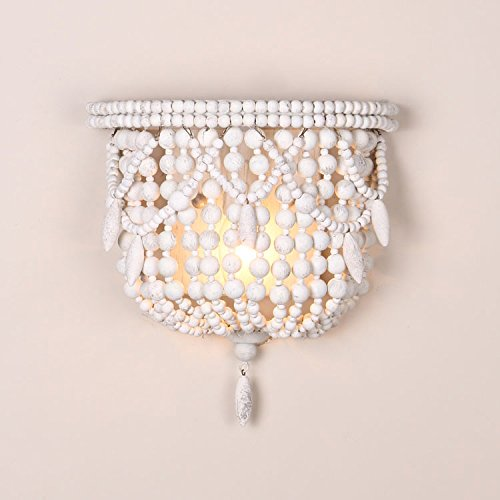 Jiuzhuo Classic Style Distressed White Wood Beaded 1-Light Decorative Indoor Wall Sconce Light