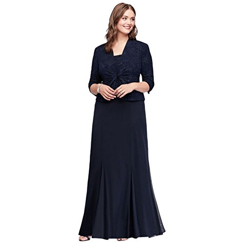 Plus Size 3/4 Sleeve Long Jacquard Jacket Mother of Bride/Groom Dress Style 6525206, Midnight, WP14