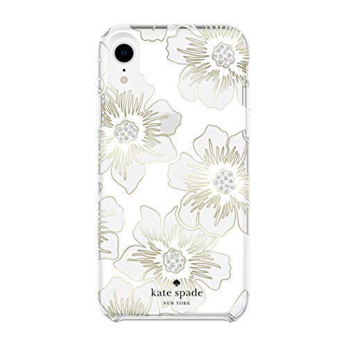- Kate Spade New York Phone Case for Apple iPhone XR Protective Phone Cases with Slim Design Drop Protection and Floral Print, Reverse Hollyhock Floral Clear/Cream with Stones