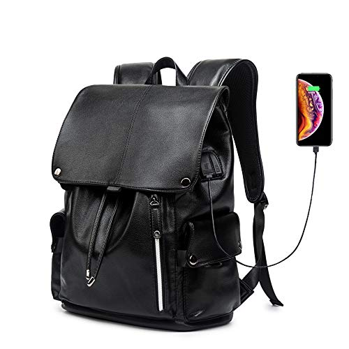 Business Travel Backpack, KISSUN PU Leather Laptop Backpack with USB Charging Port for Men Womens, Anti-Theft Water Resistant College School Bookbag Computer Backpack Fits 15.6 Inch Laptop & Notebook - Tech Leather Backpack