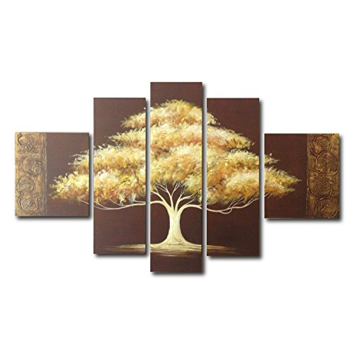 FLY SPRAY 5-Piece 100% Hand-Painted Oil Paintings Panels Stretched Framed Ready Hang Golden Yellow Trees Modern Abstract Canvas Living Room Bedroom Office Wall Art Home - Galleria White Plains The
