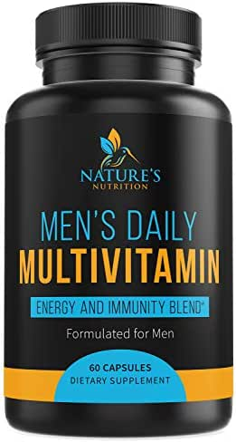 Multivitamin for Men, Highest Potency One Daily Whole Food Vitamin with Vitamins A, C, D, E, B1, Zinc - Made in USA - Best Natural Supplement for Energy & General Health - Non-GMO - 60 Capsules