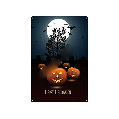 Alishopp Bar Signs, Sign Plate, Metal Painting, New Happy Halloween Retro Plaque Pumpkin Metal Tin Signs Home Bar Pub Shop Party Decorative Plates Crazy Cat Wall Stickers N234 A -