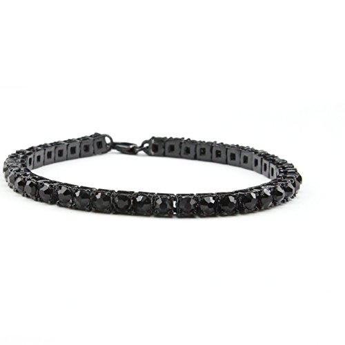 MCSAYS Fashion Jewelry Single One Row Rhinestone CZ Crystal Tennis Chain Bracelet Hip Hop Men's Bling Bling Iced out (Black)