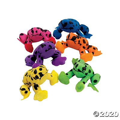 Plush Spotted Neon Frogs (set of 12) Stuffed Animal Toys great for parties and giveaways: Toys & Games