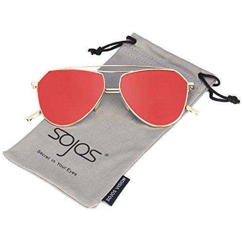 SojoS Aviator Flat Mirror Lenses Sunglasses Classic Metal Double Bridge Glasses SJ1040 With Gold Frame/Red - Glasses Aviator Red