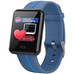 lriumpexplo Smart Watch, 1.3in Heart Rate Blood Pressure Pedometer Sports Fitness Tracker Smart Bracelet Blue