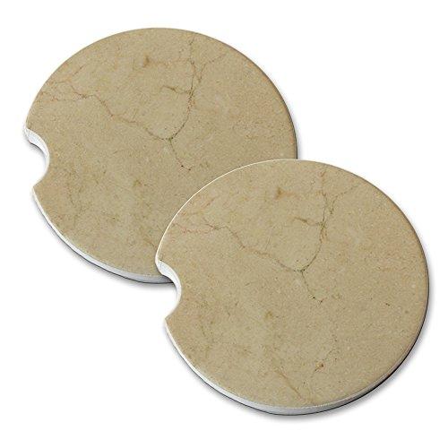 Marble Crema Marfil Design - Car Cup Holder Natural Stone Drink Coaster Set - Crema Marfil Stone