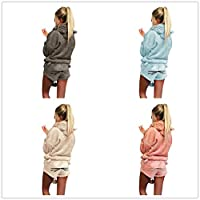 Birdfly Cute Velvet Long-Sleeved Solid Color Hoodie Cartoon Animal Pant Cute Pajamas Set for Women Plus Size 2L 3L 4L 5L