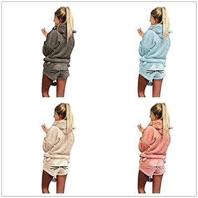 Birdfly Cute Velvet Long-Sleeved Solid Color Hoodie Cartoon Animal Pant Cute Pajamas Set for Women Plus Size 2L 3L 4L 5L