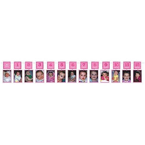 1st Birthday Glitter Photo Garland - Pink -