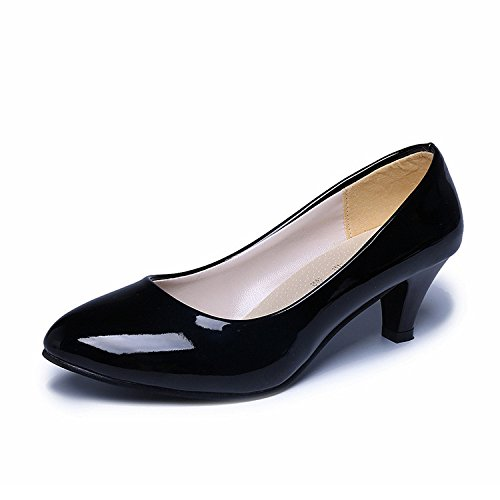 GAOLIM Zapatos De Mujer Negro Zapatos De Tacón Alto De Cabeza Redonda Unos Zapatos De Tacón Fino Con Poca Boca Solo Zapatos De Trabajo Profesional Femenino Solo Los Zapatos De Tacón Alto (6-8Cm) Negro