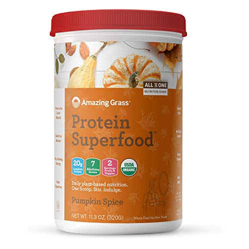 Amazing Grass Organic Plant Based Vegan Protein Superfood Powder with Vitamin Matrix, Flavor: Pumpkin Spice, 10 Servings, 11.2oz, Meal Replacement Shake