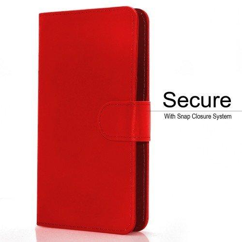BLU Energy X Plus Titular de la tarjeta identificación de la carpeta de muelle ajustable cubierta de la caja (Rojo) Plus de regalo libre, Protector de pantalla y un lápiz óptico, Solicitar ahora mejor